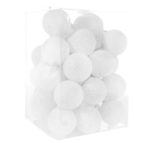 Bavlněné svítící kuličky LED 35 ks - bílé