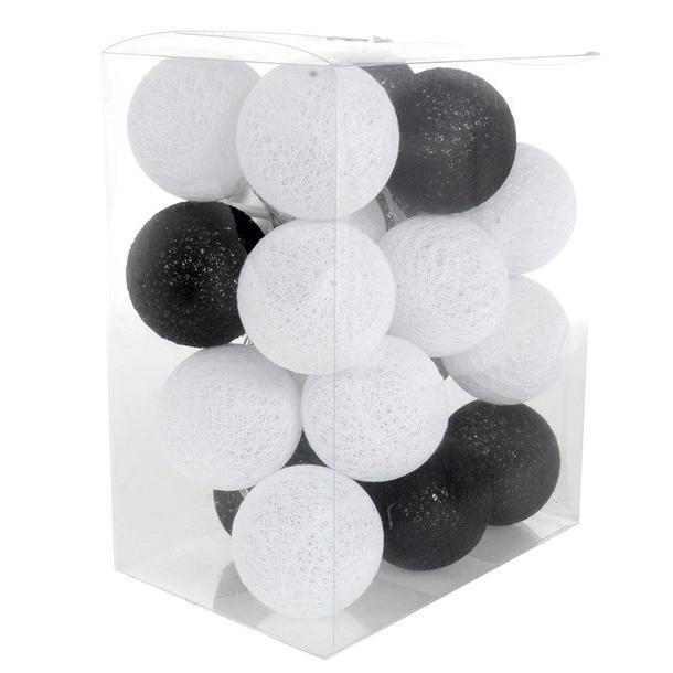 Bavlněné svítící kuličky LED 20 ks - černobílé