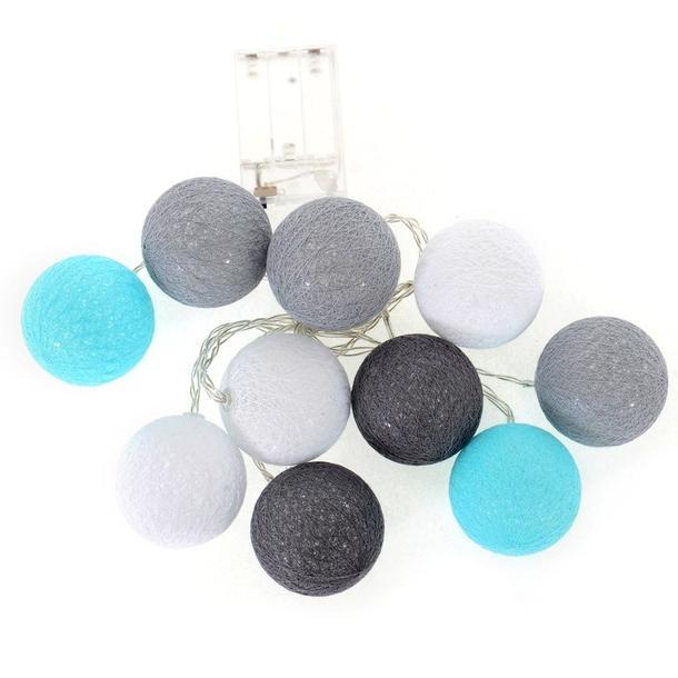 Bavlněné svítící kuličky LED 10 ks - mátové a šedé