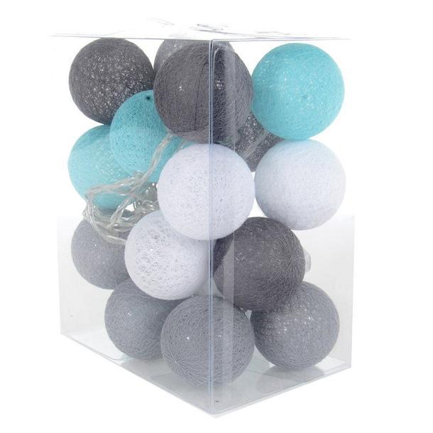 Bavlněné svítící kuličky LED 20 ks - mátové a šedé