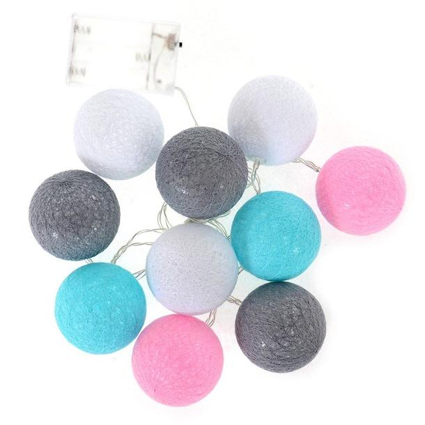 Bavlněné svítící kuličky LED 10 ks - růžové a mátové