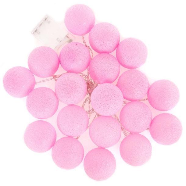 Bavlněné svítící kuličky LED 20 ks - růžové