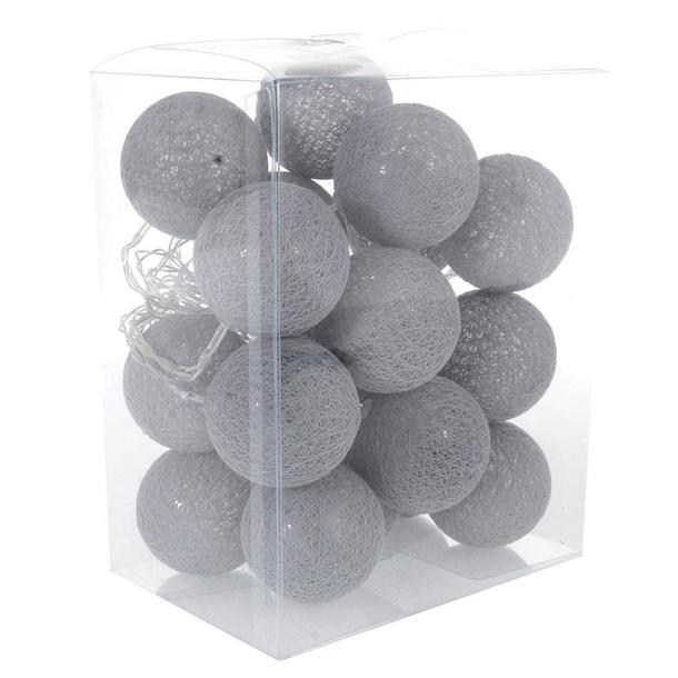 Bavlněné svítící kuličky LED 20 ks - šedé
