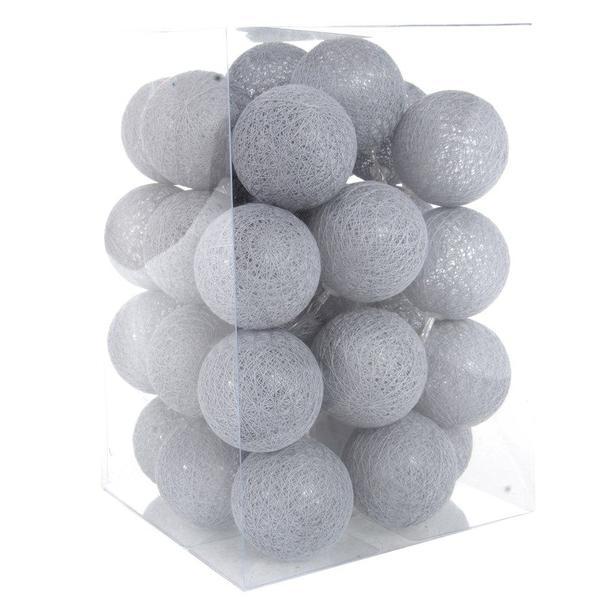 Bavlněné svítící kuličky LED 35 ks - šedé
