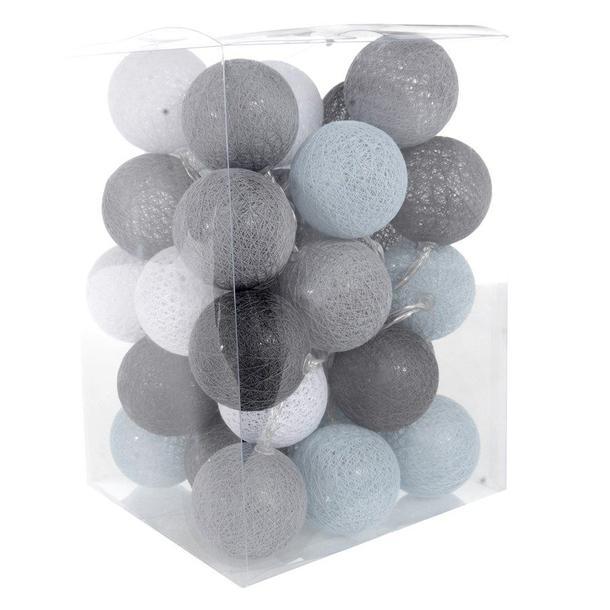 Bavlněné svítící kuličky LED 35 ks - světle šedé