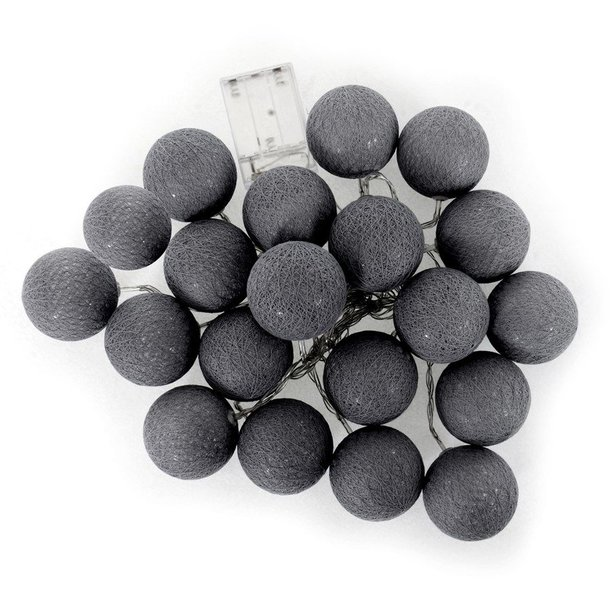 Bavlněné svítící kuličky LED 20 ks - tmavě šedé