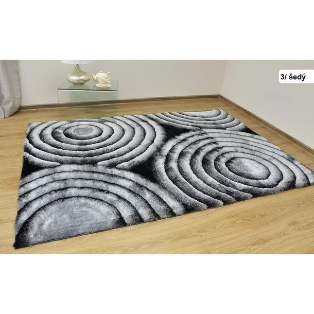Kusový koberec Shaggy MAX lana - šedý - vzor 3