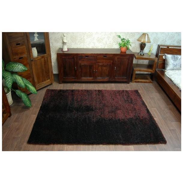 Kusový koberec SHAGGY NARIN černo-červený