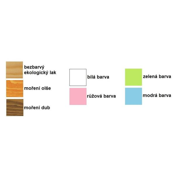 Dětská postel z masivu - vzorník odstínů