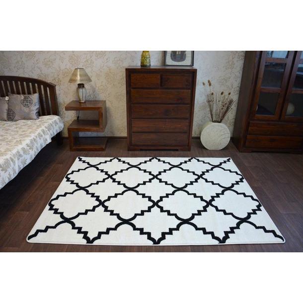 Moderní koberec bílo-černý F343
