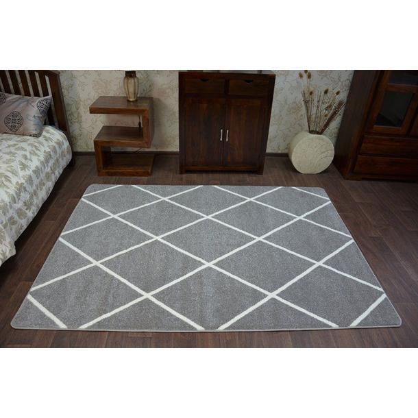 Moderní koberec šedo-bílý F728