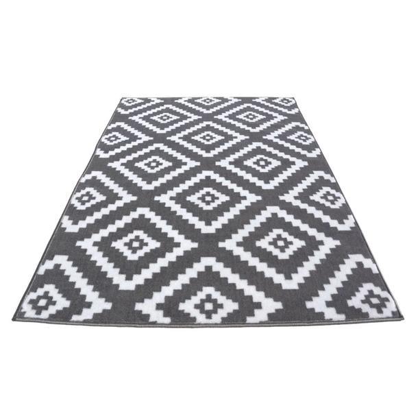 Moderní koberec BCF 2027 - šedo-bílý