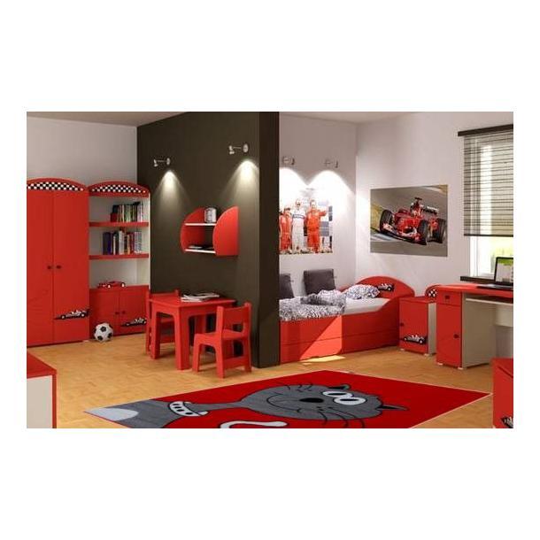 Dětský koberec Veselá kočička - červený
