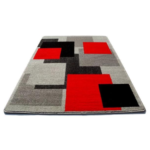 Moderní koberec NEO 6839 - Kostky - šedo-červené