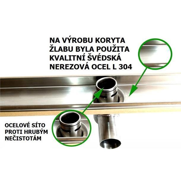 Odtokový sprchový žlab ALBA steel