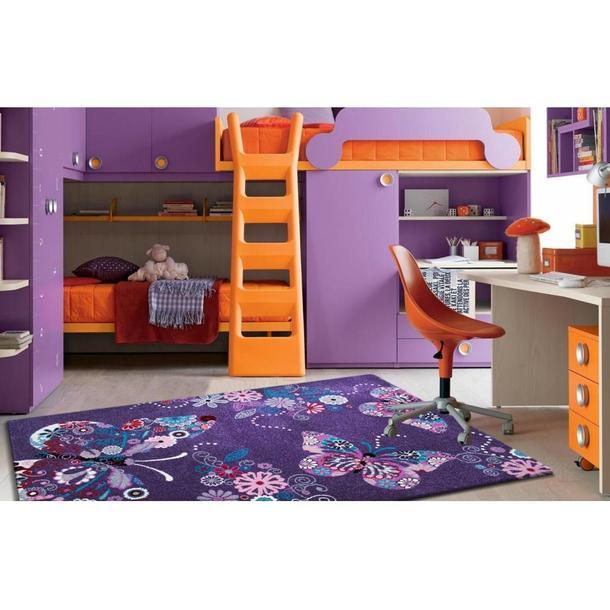 Dětský koberec Motýlci - fialový