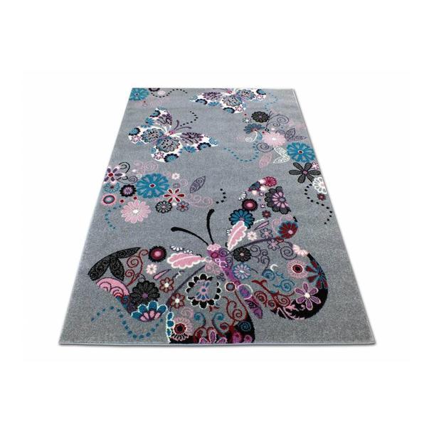 Dětský koberec Motýlci - šedý