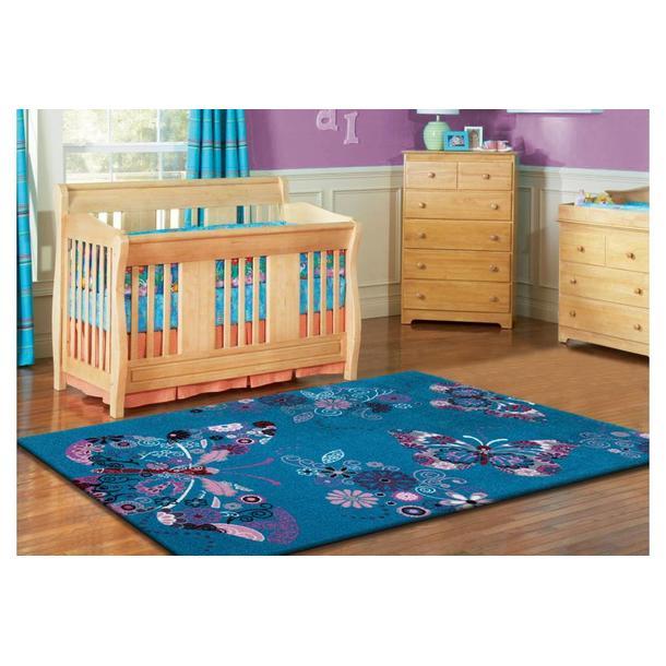 Dětský koberec Motýlci - tyrkysový