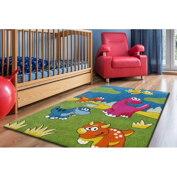 Dětský koberec Malí dinosauři - zelený