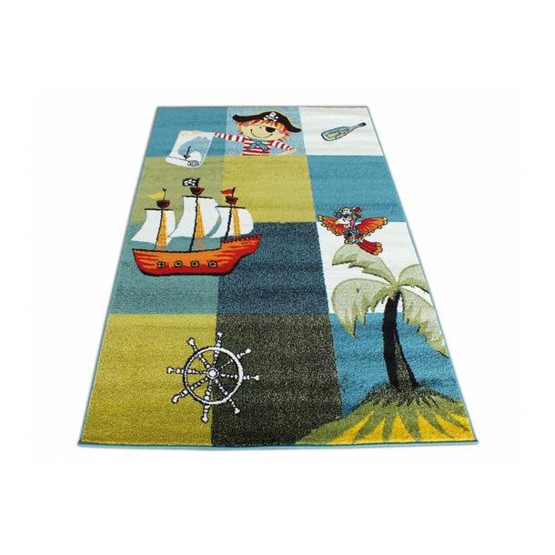 Dětský koberec Pirátská loď - modrý