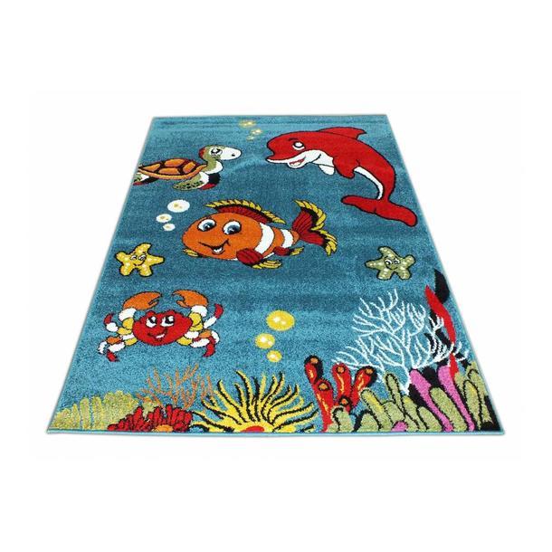 Dětský koberec Veselá rybička - modrý