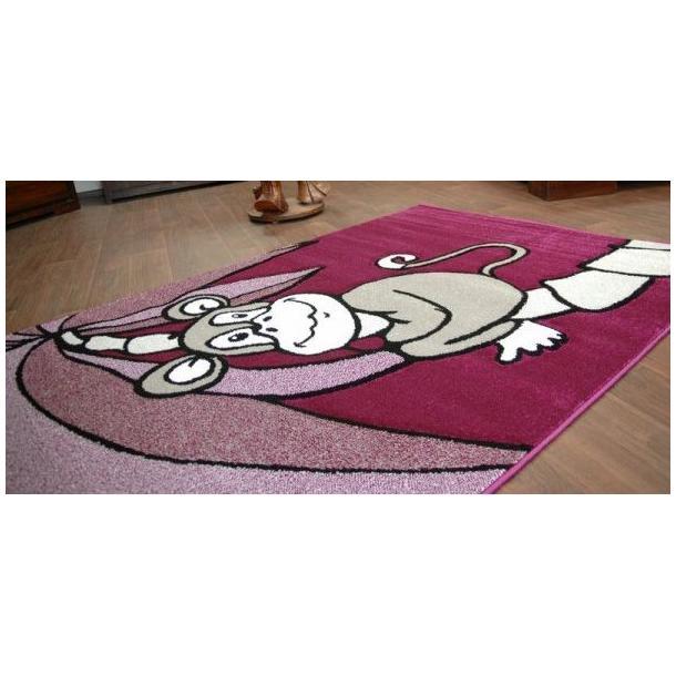 Dětský koberec FIALOVÁ OPIČKA - kusové koberce pro děti