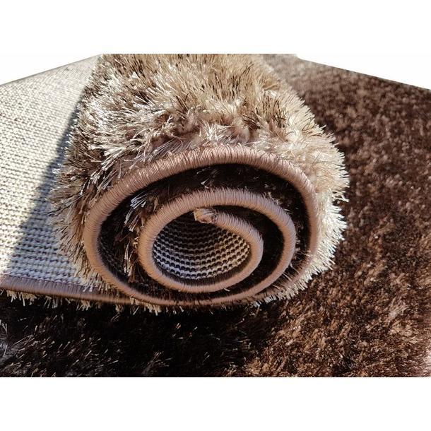 Kusový koberec SHAGGY TOP - hnědo-béžový