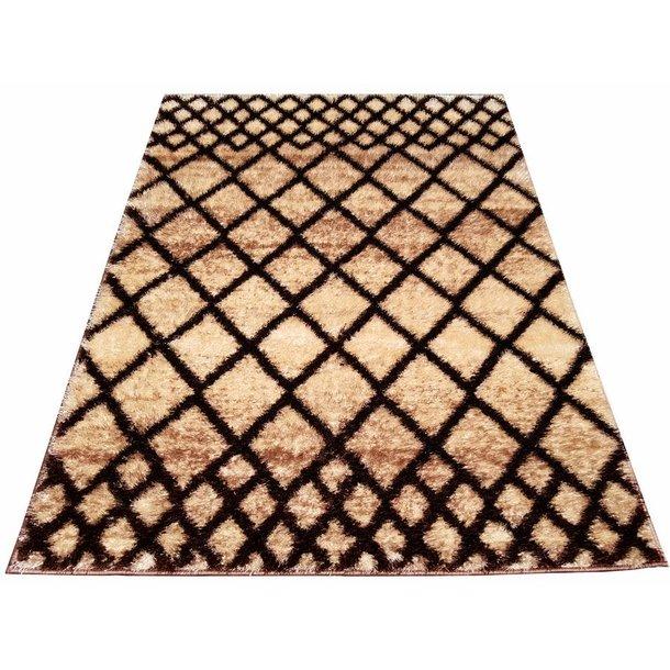Kusový koberec SHAGGY NEVADA - mřížka - béžový