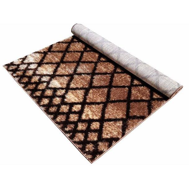 Kusový koberec SHAGGY TOP - mřížka - cappuccino