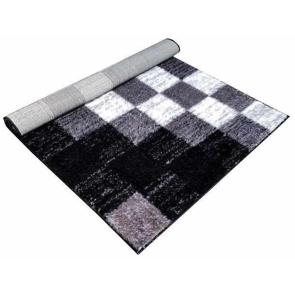 Kusový koberec SHAGGY TOP - kostky - šedý