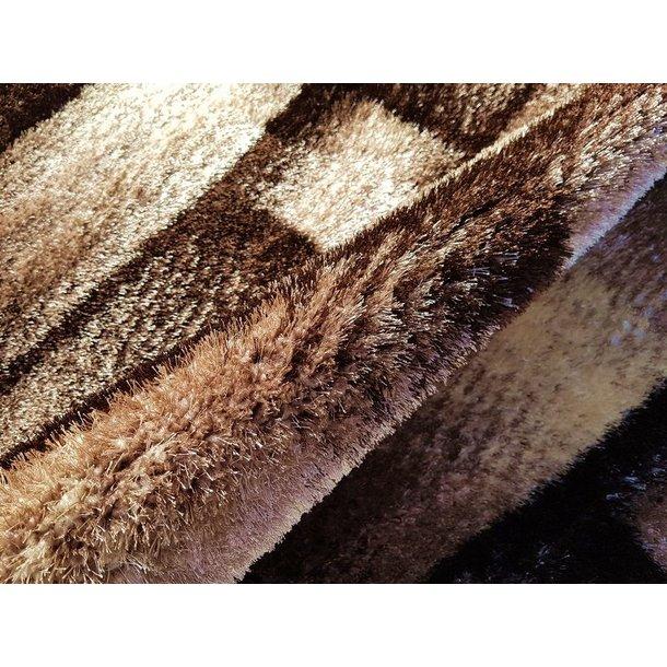 Kusový koberec SHAGGY TOP - pruhy - hnědý