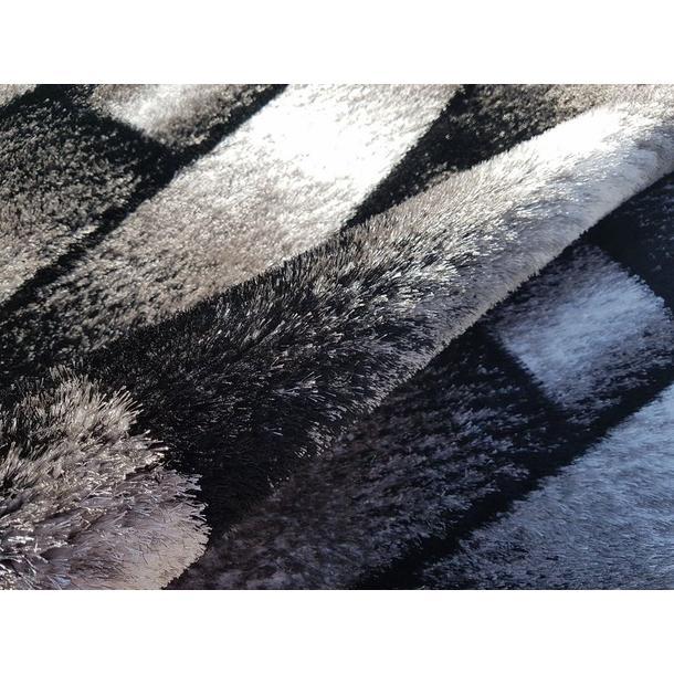 Kusový koberec SHAGGY TOP - pruhy - šedý