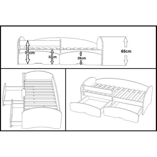 Dětská postel se šuplíky MAGIC 140x70 cm + matrace