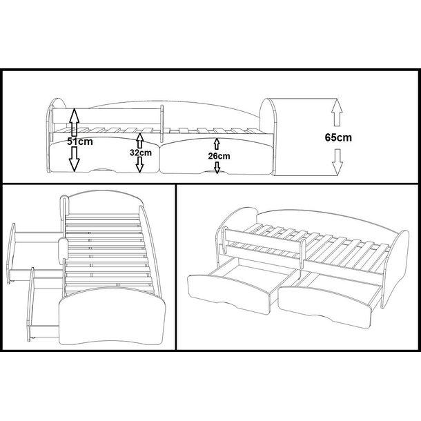 Dětská postel se šuplíky MAGIC 180x90 cm + matrace