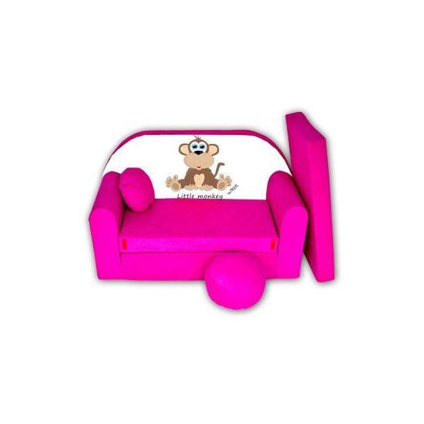 Dětská pohovka Little Monkey - růžová