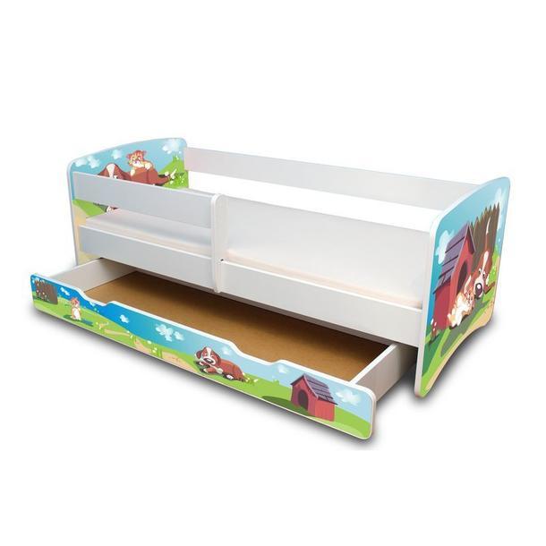 Dětská postel se šuplíkem 160x70 cm - PEJSEK A KOČIČKA II.