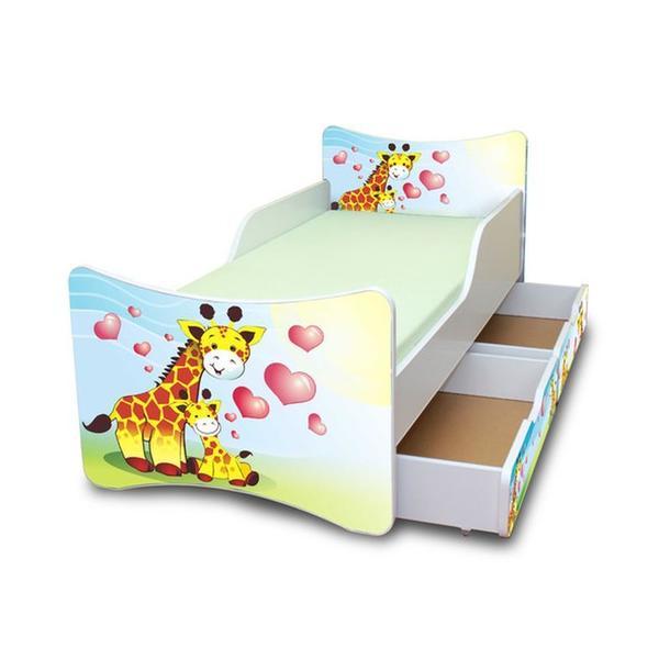 Dětská postel se šuplíkem 160x70 cm - ŽIRAFKY