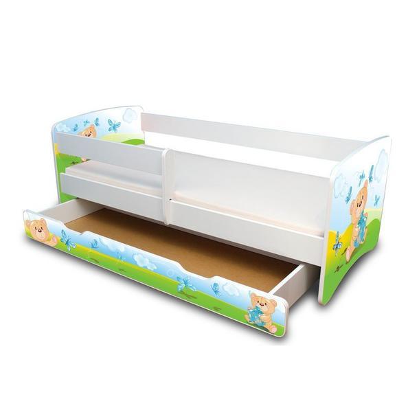 Dětská postel se šuplíkem 160x70 cm - MEDVÍDEK S DÁREČKEM II.