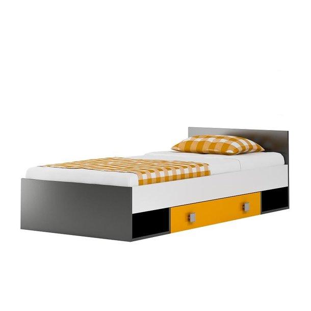 Dětská postel se šuplíky YELLOW - 200x90 cm + matrace
