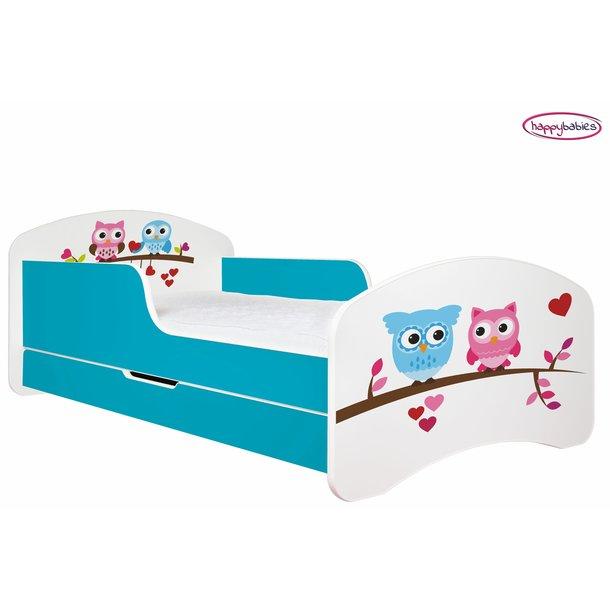 Dětská postel se šuplíkem SOVIČKY A SRDÍČKA