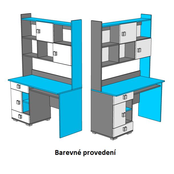 Psací stůl - BLUE TYP B - barevné provedení