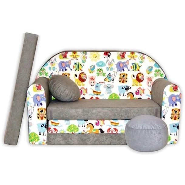 Dětská pohovka Veselá zvířátka - šedá