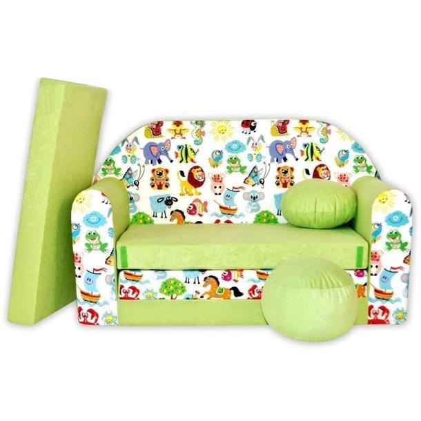 Dětská pohovka Veselá zvířátka - zelená