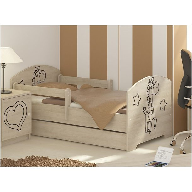 Dětská postel s výřezem ŽIRAFA - přírodní 140x70 cm