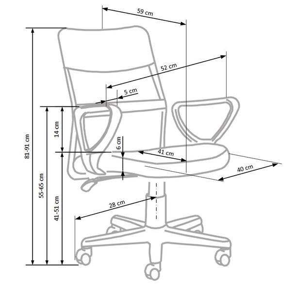 Rozměry židle