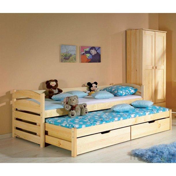 Dětská postel s výsuvnou přistýlkou z MASIVU 190x80cm SE ŠUPLÍKY - TOM