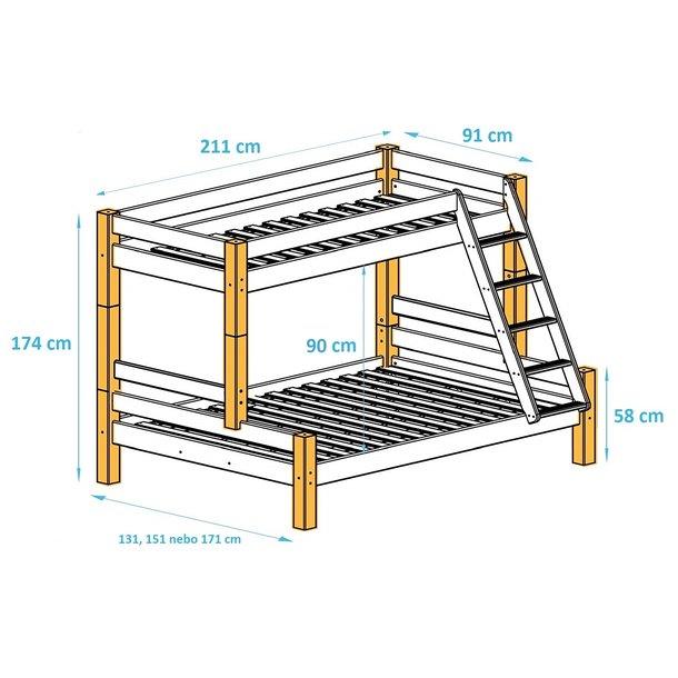 Rozměry patrové postele s rozšířeným spodním lůžkem PAVLÍNA