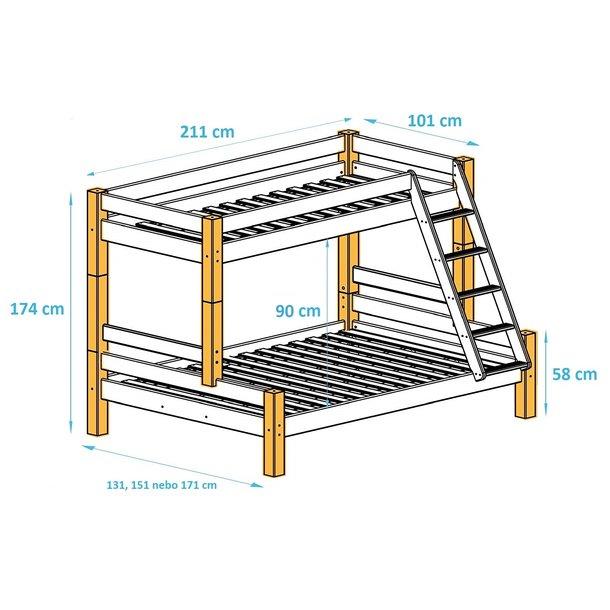 Rozměry dětské patrové postele s rozšířeným spodním lůžkem z masivu PAVLÍNA