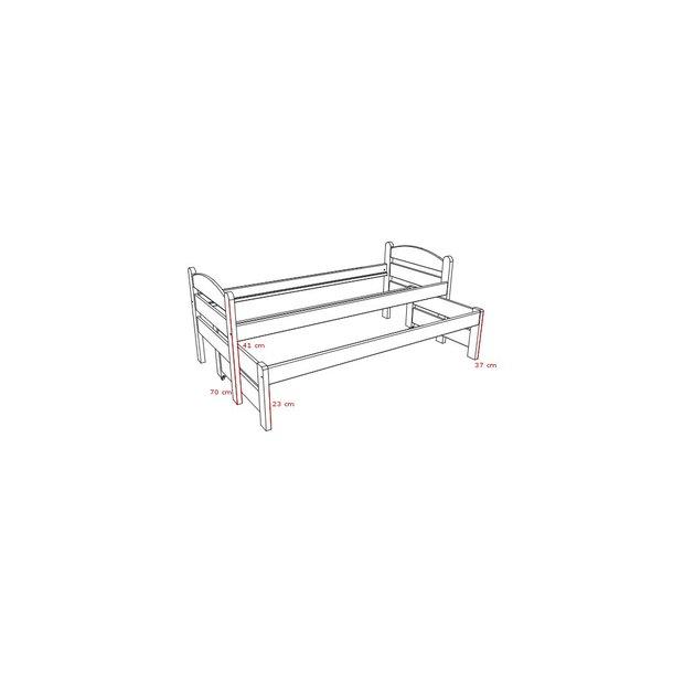 Dětská postel s výsuvnou přistýlkou z MASIVU 200x90cm SE ŠUPLÍKY - DPV010