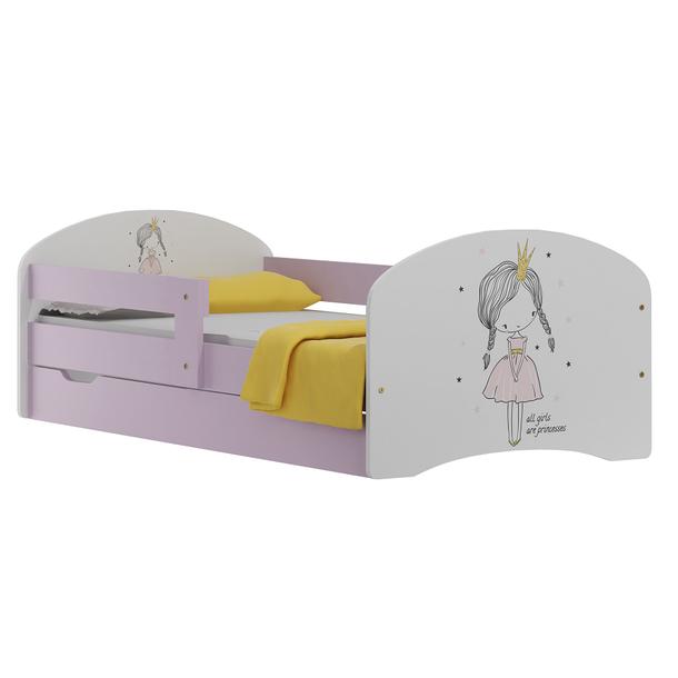 Dětská postel se šuplíky RŮŽOVÁ PRINCEZNA 160x80 cm